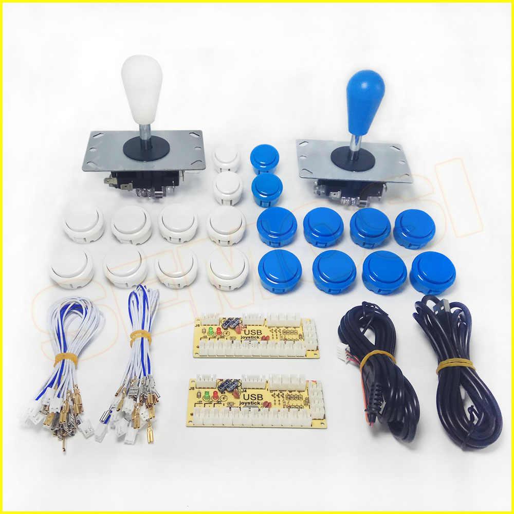 Diy 아케이드 조이스틱 키트 1/2 플레이어 pc 컴퓨터 게임 아케이드 조이스틱 버튼 w 제로 지연 usb 인코더 아케이드 기계