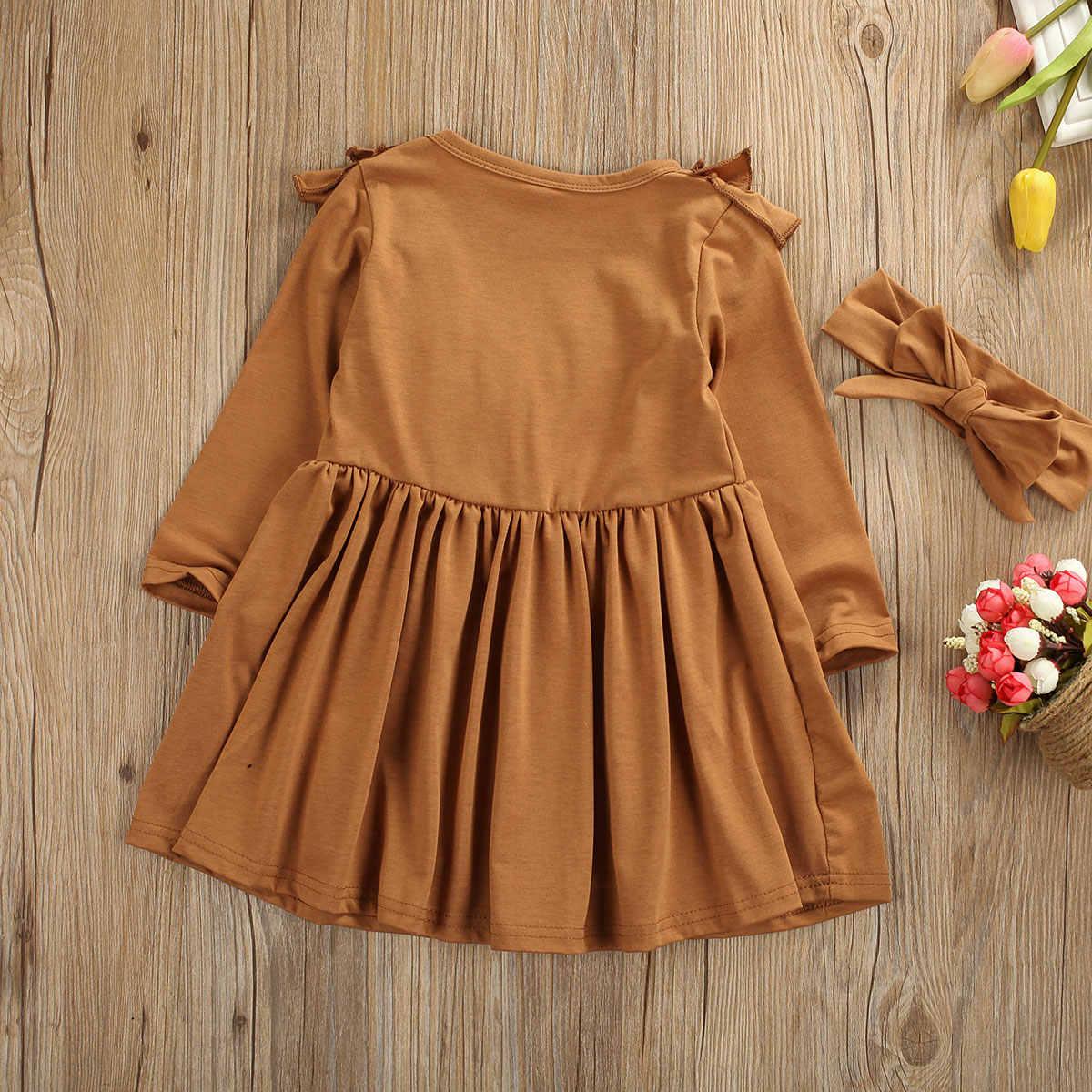 1-6Y طفل أطفال طفل الفتيات فستان الكشكشة كم طويل الصلبة حفلة فستان كاجوال عقال ملابس وتتسابق