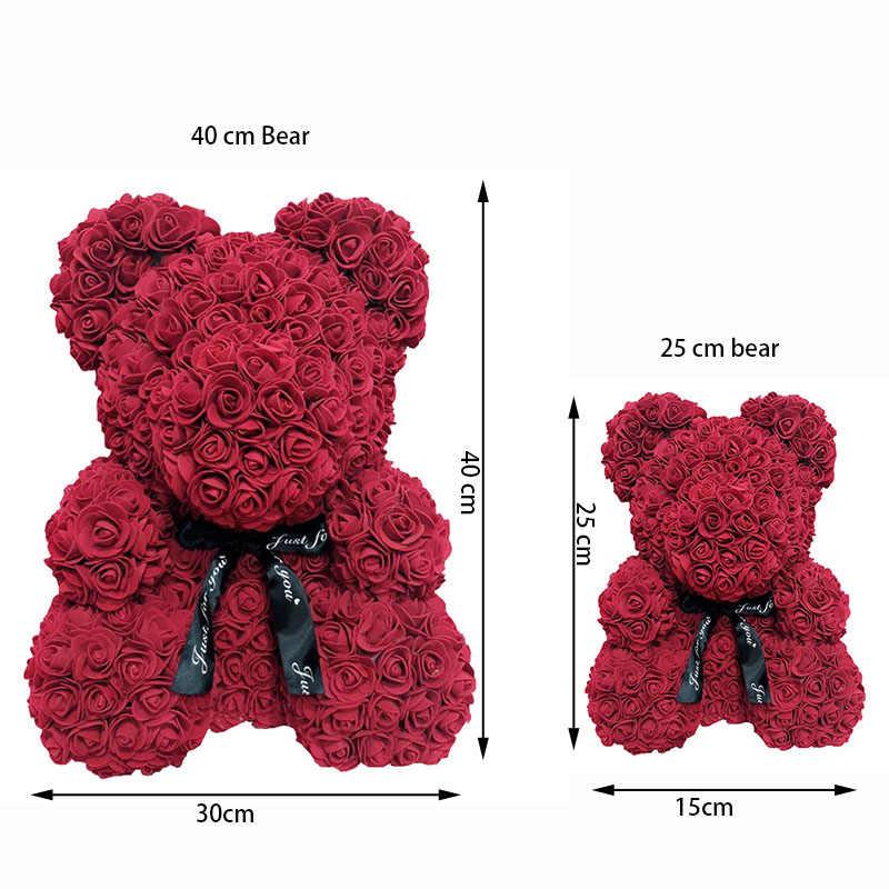 Ours Fleur Rose Artificielle Cadeau Femme Saint Valentin Nounours Peluche 25cm