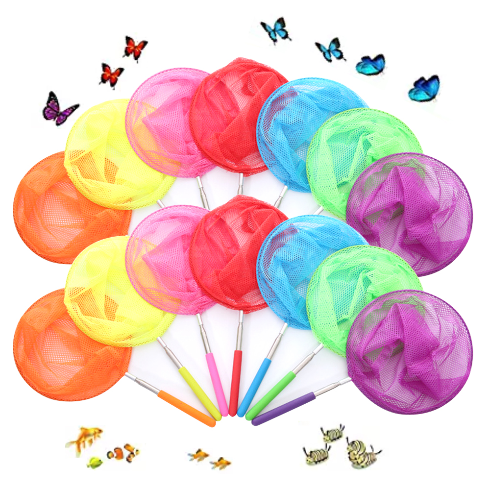 Outdoor Toys Kids Fishing Net Rainbow Telescopic Butterfly Net,Insect Catching Nets For Children Catching Insects Bug Small Fish