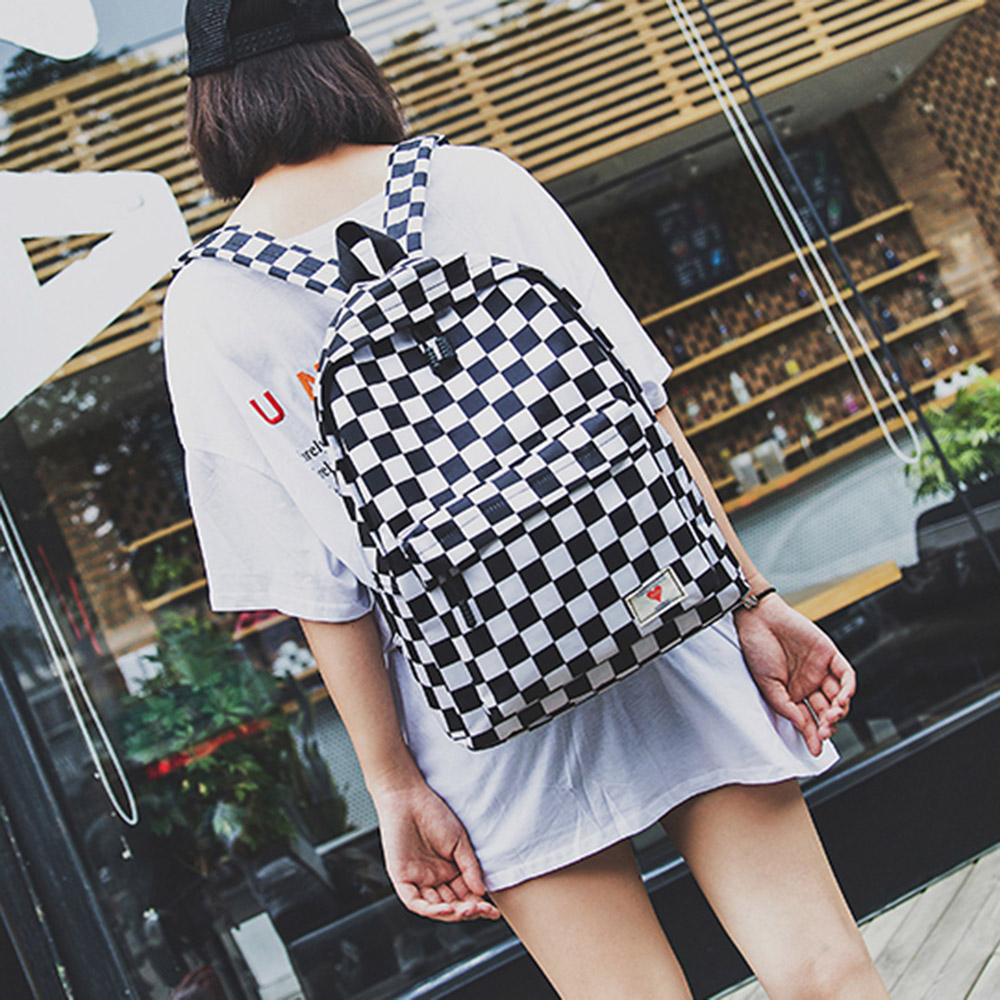 Casual Canvas Bags Fashion Student Teenagers Shoulder Backpack 2019 Women Backpack Plaid Zipper Cell Phone Pockets School Bags