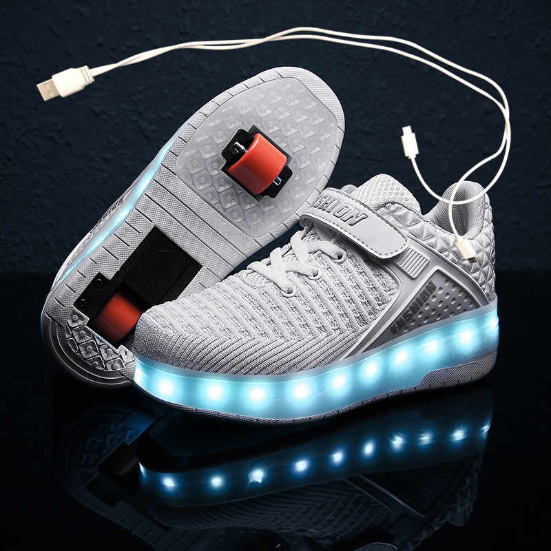 Details about  /2021 New Casual Children Glowing Light Up Shoes Glowing Roller Shoes With Wheels