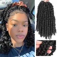 Extensiones de cabello trenzado de ganchillo para mujer cabello sintético con torsiones de cabello, color negro, Riversa