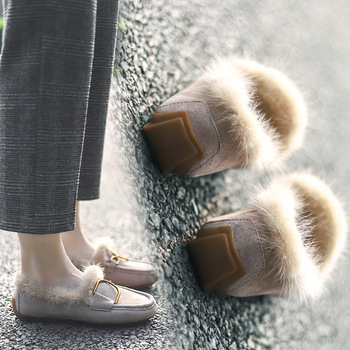 Winter Women Loafers Plush Slip on Flat Shoes Bow Woman Flats Warm Loafer Wool Casual Shoes Fur Boat Shoes flats zapatos mujer beau genuine cow leather loafer shoes women new fashion bowknot fur wool lining slip on casual flats 27807