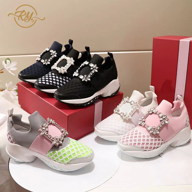 RY-RELAA Woman Sneakers 2018 Fashion Genuine Leather Platform Sneakers Ins Rhinestone Wedges Shoes For Women Ins Designer Shoes