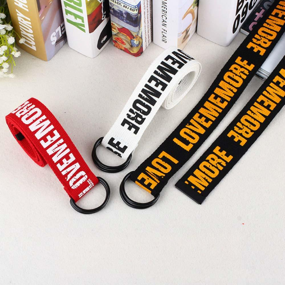 Harajuku Unisex Canvas Belts Letters Printed Double D Ring Buckle Punk Waist Strap Women Men Teenager Long Wide White Belt