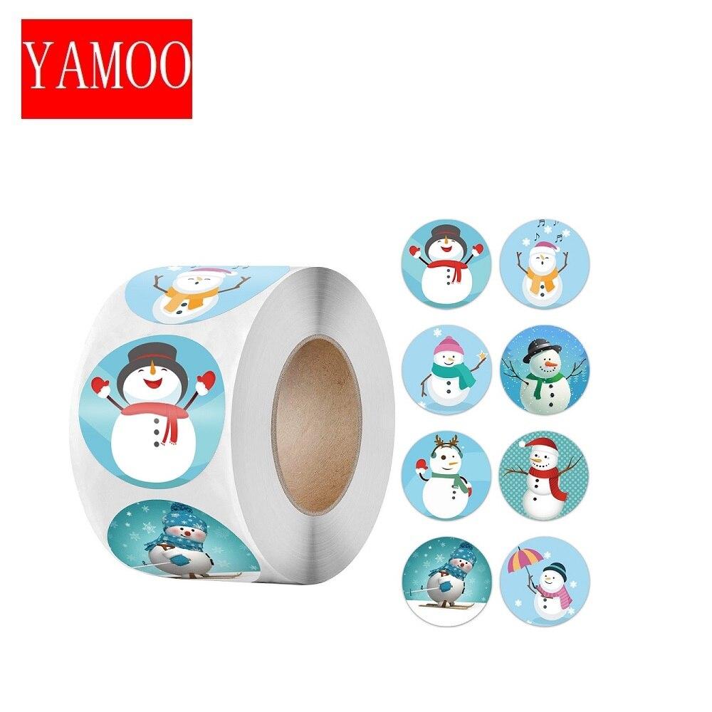Рождественская наклейка, мультяшная Рождественская елка, Санта-Клаус, дизайнерская бумажная этикетка, милые рождественские наклейки, канц...