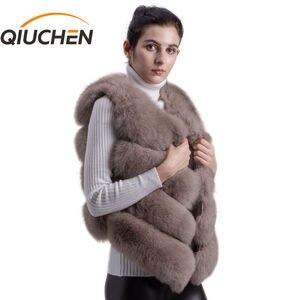 Image 1 - QIUCHEN PJ8005 2020 새로운 도착 뜨거운 판매 자연 진짜 여우 모피 짧은 조끼 gilet 겨울 여성 조끼 고품질 두꺼운 모피