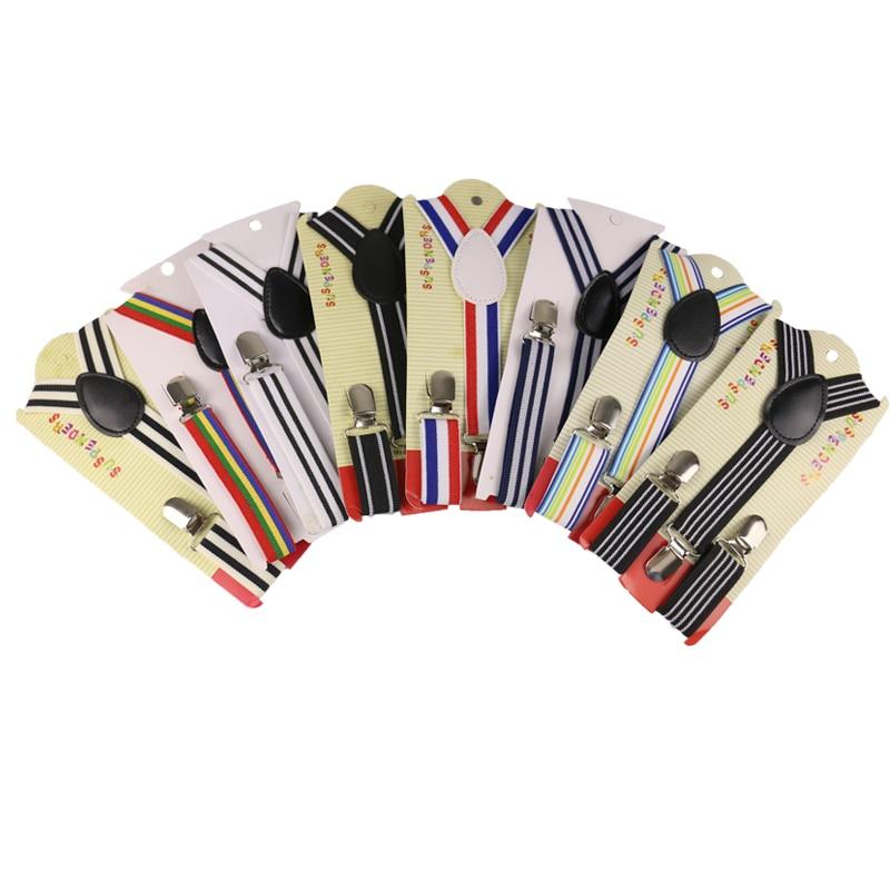 Winfox Fashion Rainbow Stripes Style Clip-on Braces For Boys Girls Kids Children Adjustable Elastic Y-Back Party Suspender