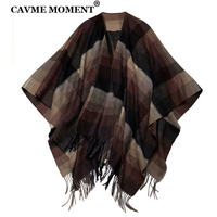 CAVME Pure Wool Pashmina Scarf Stole Plaid Shawl with Tassels for Women Ladies Large Scarf 130*170cm CUSTOM LETTERS