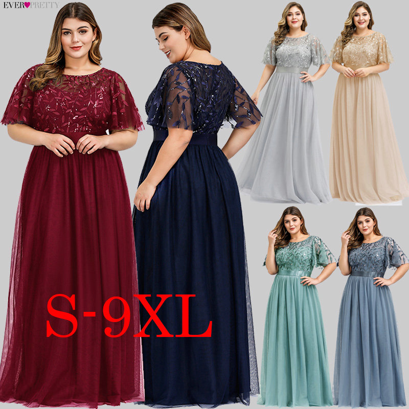Plus Size Sequined Long Prom Dresses Ever Pretty A-Line O-Neck Ruffles Sleeve Elegant Tulle Party Gowns Vestido De Gala 2020