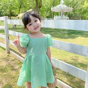 Платье для маленьких девочек; Модное корейское платье принцессы в клетку с короткими рукавами для девочек; Детская одежда; От 2 до 6 лет плать...