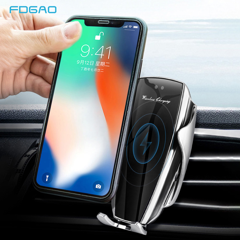 10W Wireless Charger Infrared Sensor Automatic Clamping Fast Charging Phone Holder Mount Car Charger For IPhone Huawei Samsung Wireless Chargers     - title=
