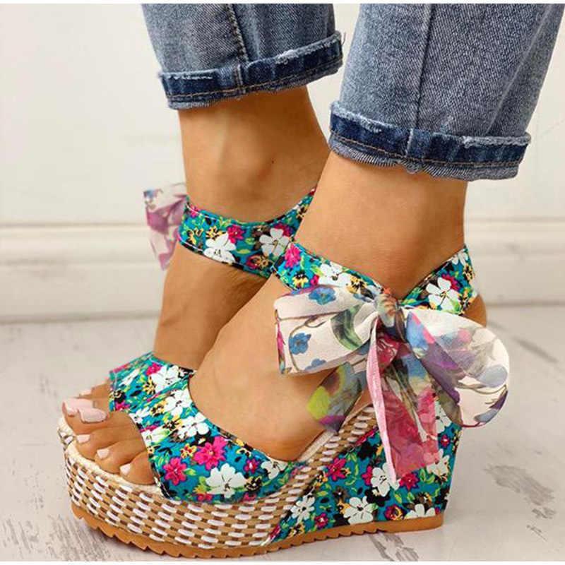 Kadın Bohemia sandalet kadın çiçek takozlar kadın dantel kadar kadın platformu ayakkabı bayanlar Peep Toe moda yüksek topuklu ayakkabı