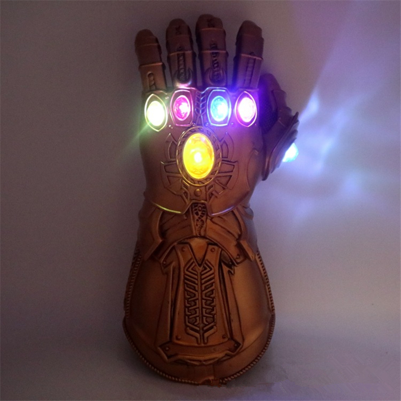 Classic Superhero Infinity Gauntlet Infinity War Thanos Gloves Cosplay Props Kids Adult PVC LED Glove Props Halloween Party Toys