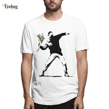 Mans 3D Print Banksy Rage Flower Bomber Stencil Tee Shirt For Man Novelty Graphic T