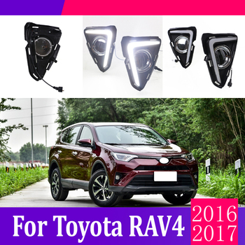 2pcs For Toyota RAV4 2016-2017 LED Daytime Driving Running Light DRL Car Fog Lamp 6000K White Light Turn Yellow Light