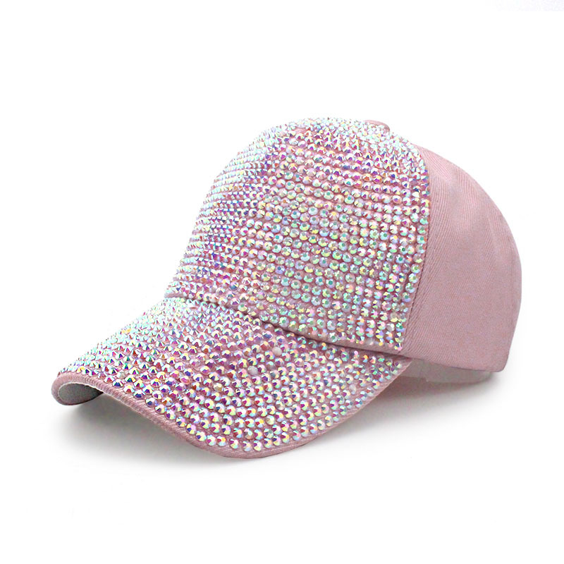 New diamond cap with diamond inset baseball cap cotton polyester summer sunshade hat women go with fashion trend hat