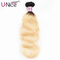 Unice Hair 1B/613 Ombre Brazilian Hair Weave Bundles 10 20 Inch 1 PC Body Wave 2 Tone Black Blonde 100% Remy Human Hair Weft