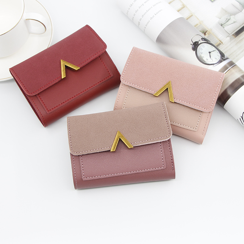 Wallet Purse Short Credit-Card-Holder Female Small Vintage Mini Luxury Brand Fashion title=