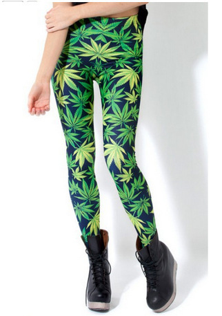 Export Hot Selling Women's 3D Digital Printing Star Hemp Fimble Leaf Leggings Trousers