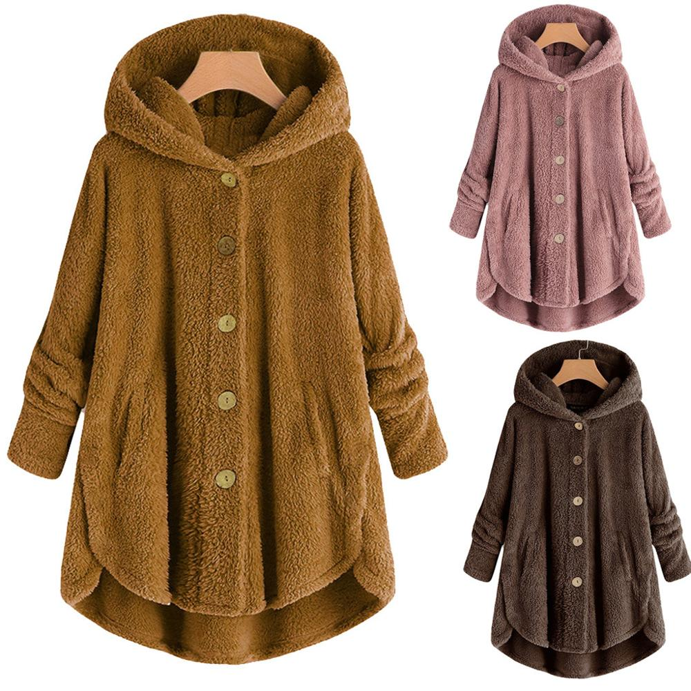 Thin Plush Lambskin Coat Women Winter Fluffy Plus Size 5XL Fashion Casual Solid Hooded Fake Fur Coat Warm Soft Female Overcoat