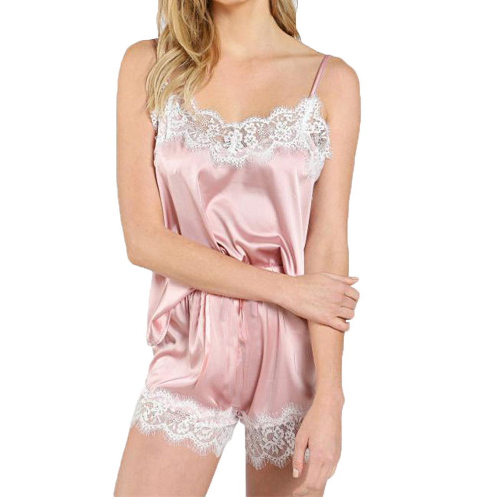 Women's Sleepwear Sexy Satin Set Black Lace V-Neck Pyjamas Sleeveless Cute Cami Top and Shorts Trim Satin Cami Top Pajama Sets