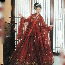 Красное платье Hanfu, костюм для народных танцев, китайский традиционный Национальный костюм феи, костюм древней династии Хань, наряд принцессы для сцены SL1719