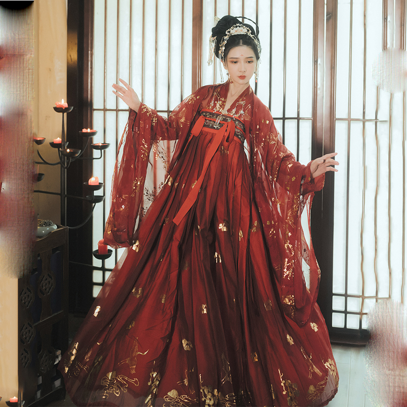 Red Hanfu Dress Folk Dance Costume Chinese Traditional National Fairy Costume Ancient Han Dynasty Princess Stage Outfits SL1719