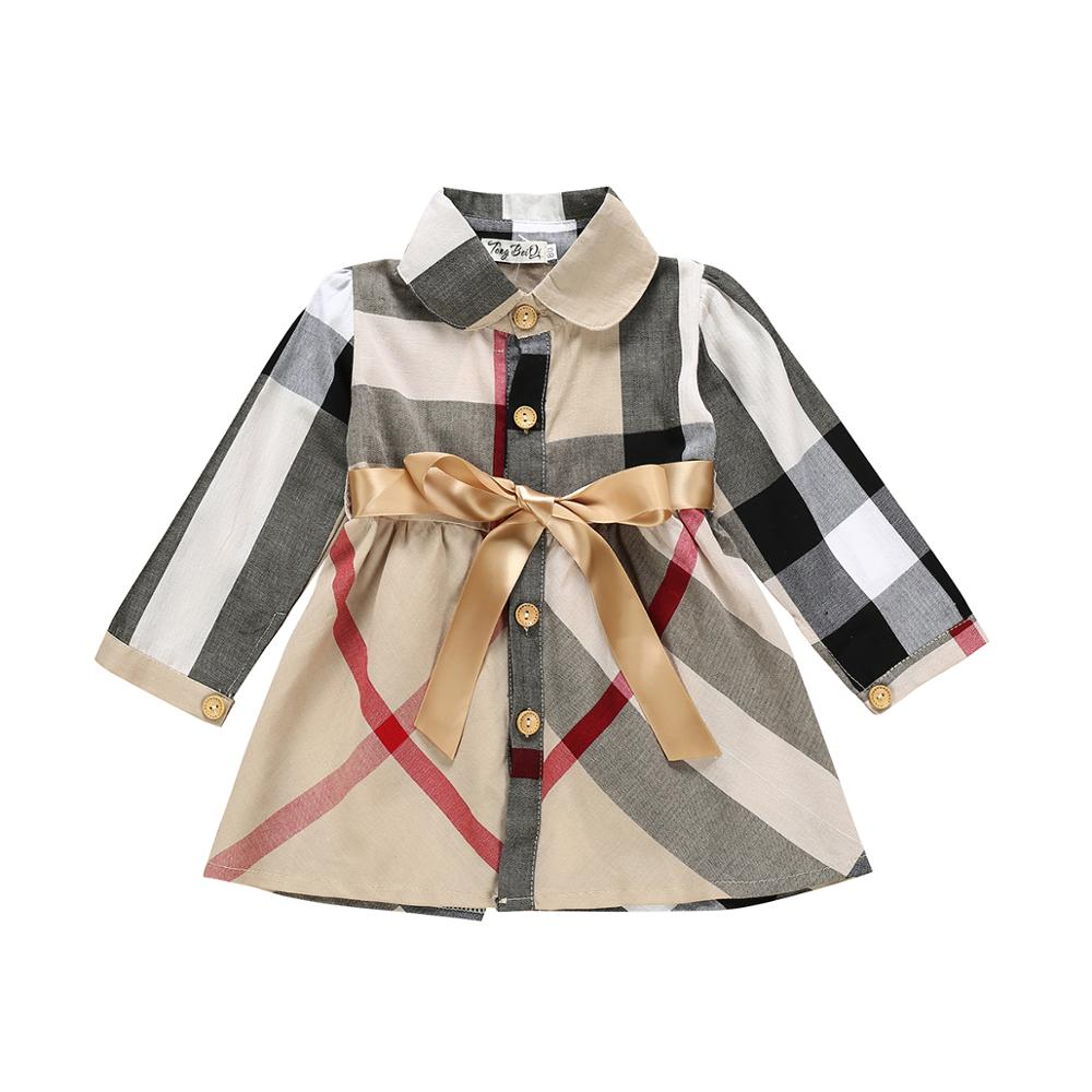Children Dresses Long-Sleeve Toddler Fall/winter Outfits Party-Clothing Plaid Baby-Girls