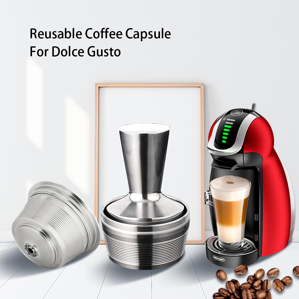 3 Pods 1 Tamper Dolce Gusto Reusable Capsule Recargable Nescafe Capsulas Metal Dolce Gusto Filter Caps Dolce Gusto Reutilizables(China)