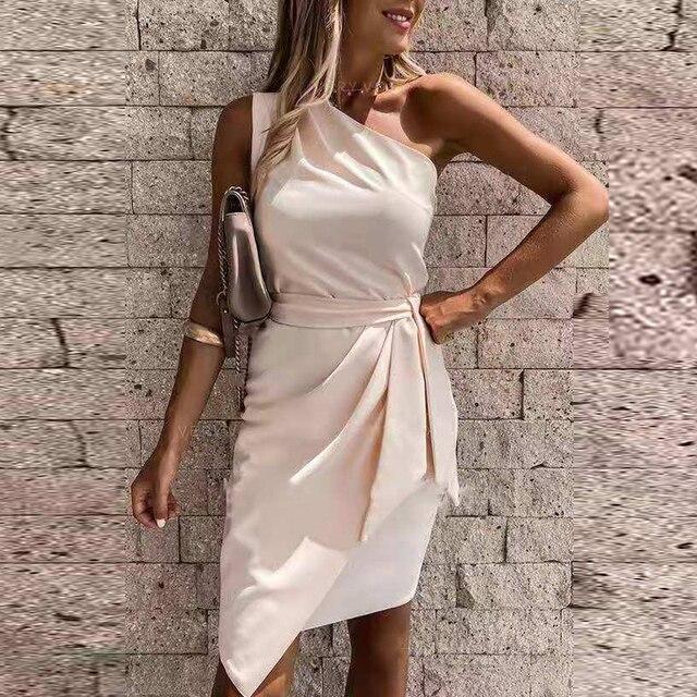 Vestido de fiesta liso con hombros descubiertos para Mujer, minivestido Sexy sin mangas ajustado con cinturón, vestido drapeado Irregular informal 2021 5