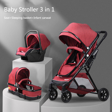 Multifunctional 3 in 1 Baby Stroller Light Weight Stroller Portable One-click Fo
