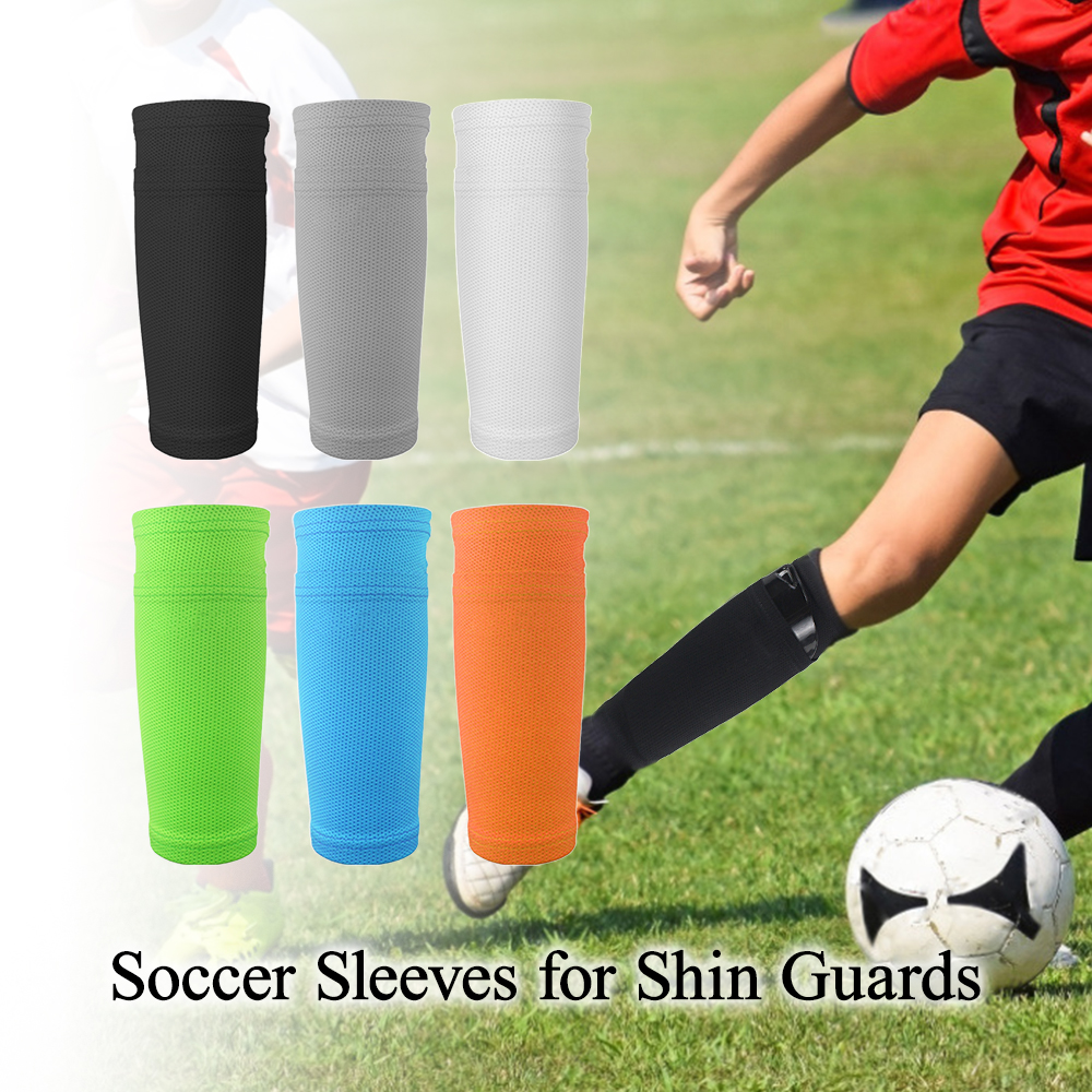 2 PCS Soccer Shin Pads Guard Football Leg Support Sleeve Protector Football Calf Socks Breathable Protective Sleeves With Pocket