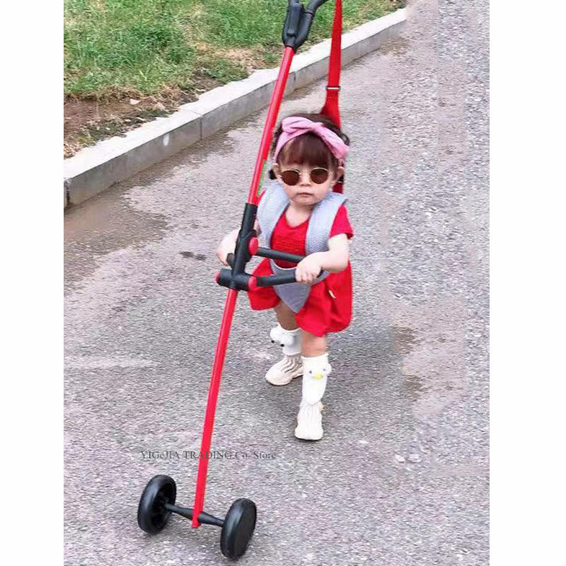 Toddler Walking Equipment with Armrest & Parent Handrail, Anti-fall Rope Included, Aluminium Alloy Frame Baby Walking Wings