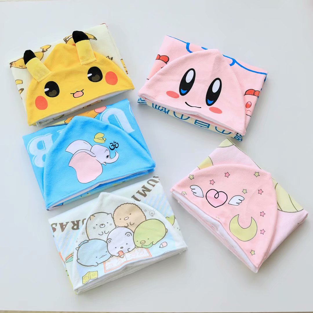 Cartoon Dumbo Corner Biological Bika Qiu Pretty Girl Hooded Bath Towel Cloak Beach Towel CHILDREN'S Bathrobes Bathrobe