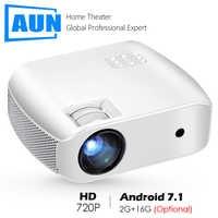 AUN MINI Proyector F10UP 1280*720P Android 7,1 (2G + 16G) WIFI Proyector de LED para 1080P 3D casa cine nuevo HDMI Proyector de vídeo