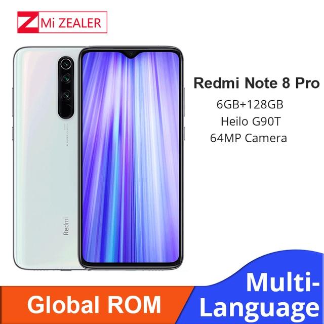 En Stock! Nouveau ROM Global Xiaomi Redmi Note 8 Pro 6GB RAM 128GB ROM 4500mah Smartphone 64MP caméra MTK Helio G90T téléphone portable