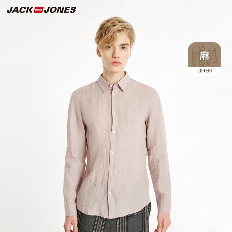 JackJones Men's 100% Linen Long-Sleeve Shirt Menswear 219105522