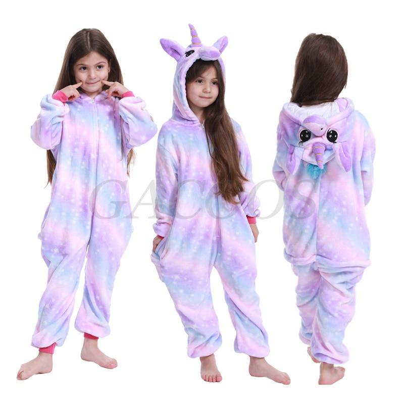 Girls Unicorn Kigurumi Pajamas Pyjamas Kids Winter Flannel Onesies Children Christmas Sleepwear Boys Panda Jumpsuit 6 8 10 12Yrs