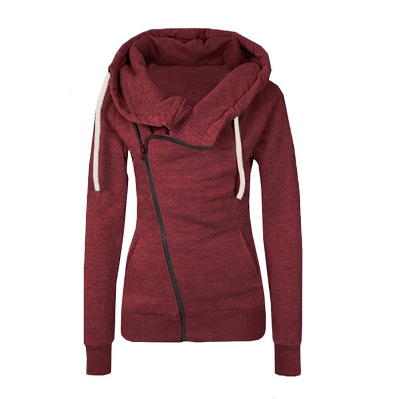 ZOGAA Women Zipper Warm Hoodies Autumn Casual Long Sleeve Hoodies Jackets Solid Hoody Jumper Overcoat Outwear Female Sweatshirts