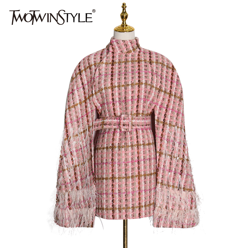 TWOTWINSTYLE Plaid Patchwork Feather Women's Coats Turtleneck Cloak Lapel Collar High Waist Sashes Streetwear Fashion 2020 Tide