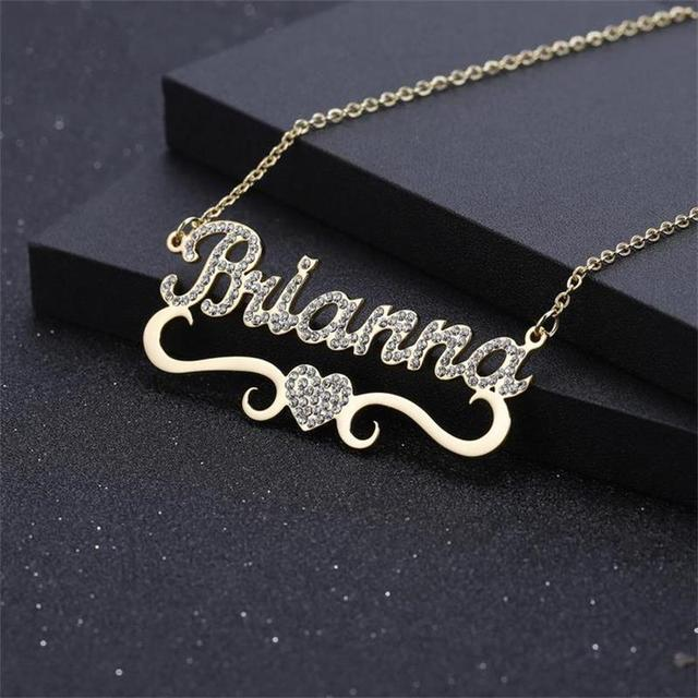 Customize Crystal Name Necklace Simple Love Heart best Gift Fashion Jewelry ultra-chic Free Engraving  for women