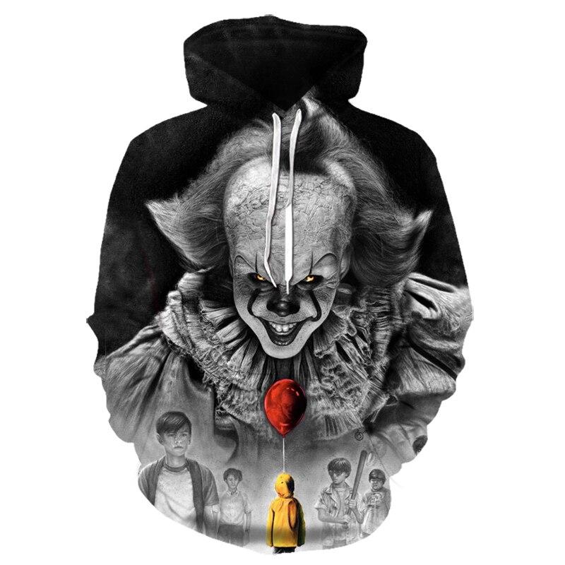 Movie Stephen King ITThe Clown Pennywise 3D Printing Hoodies Cosplay Costume Men Women Cartoon Clown  Halloween Sweatshirt