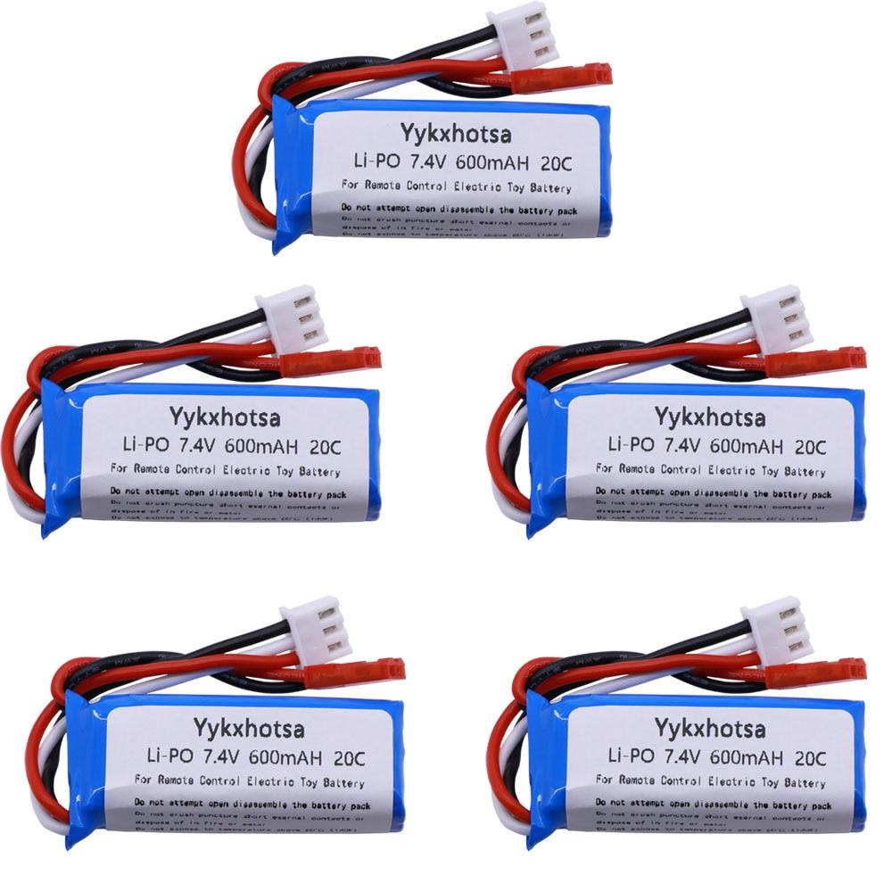 5PCS 7.4V 600mAh Lipo Battery For WLtoys K969 K979 K989 K999 P929 P939 RC Car Parts 2s 7.4v Battery For WLtoys  K969 Accessory