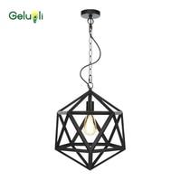 Matt Black Iron Minimalism Modern Chain Hang Line Light Pendant Light E27 Blub