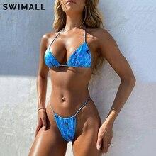 HALTER Swimwear Bikini-Set Bathing-Suit Beach-Wear Brazilian Padded-Bra Print Sexy Women