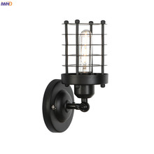 IWHD Black Metal Indsutrial Wall Sconce Bedroom Mirror Stair Light Loft Decor Retro Vintage Wall Lamp Wandlamp Aplique Luz Pared