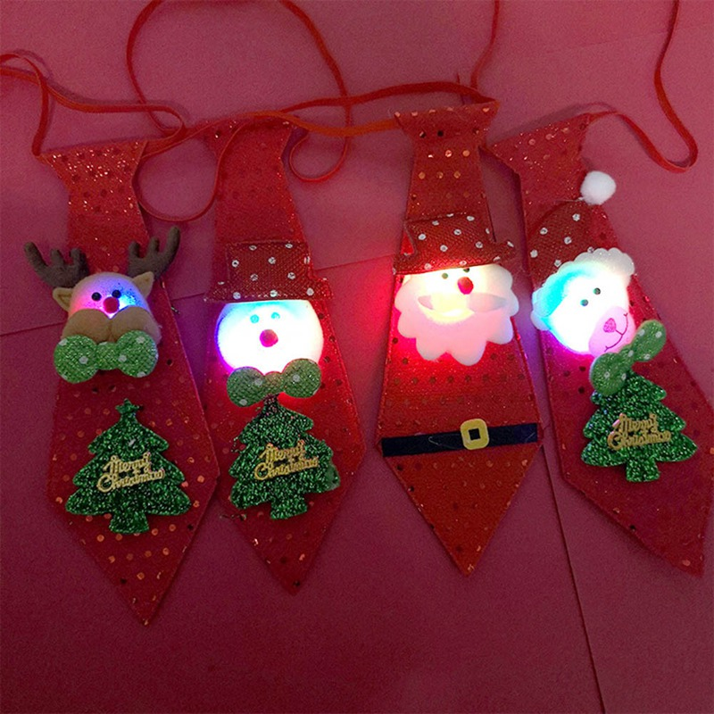 LED Lights Christmas Tie Year For Cartoon Sequins Necktie Children Claus Decoration Santa Gift 3D Gilding Stickers For Kids