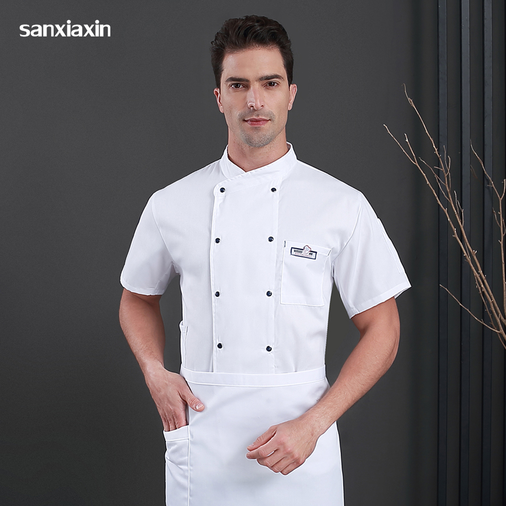 New High Quality Double Breasted Restaurant Hotel Uniform Food Service Short Sleeve Chef Jackets Kitchen Workwear Chef Hat&apron